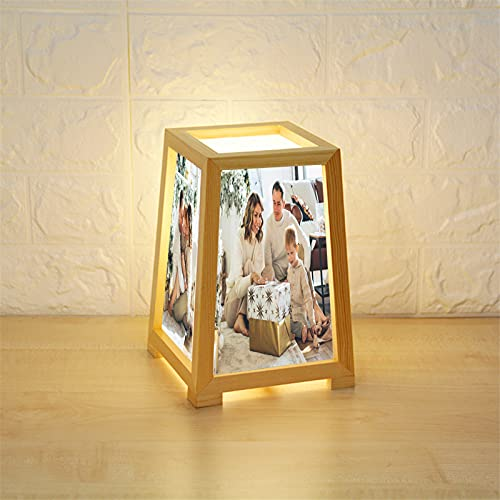 Lámpara personalizada de 4 fotos Lámpara de mesa personalizada con marco de madera para fotos, luz nocturna, foto familiar (1 color, 22*15*12cm/8.7*5.9*4.7 in)