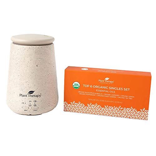 Plant Therapy TerraFuse Cream Diffuser and Top 6 Organic Essential Oil Set 100% Pure, Undiluted, Therapeutic Grade Essential Oils