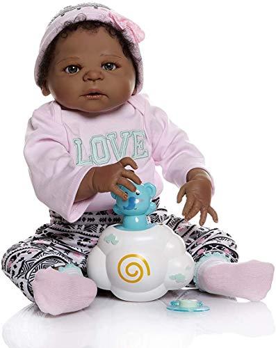 ZXYMUU 22 Pulgadas 56 cm bebé 0-3m tamaño Completo para el Cabello Rizado Negros afroamericanos Renacido niña del Pelo de muñeca arraigados muñecas Lavables recién Nacidos