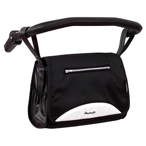 Zekiwa 803/862-08 komfortable Wickeltasche zum Kinderwagen Dessin: Butterfly Black/White