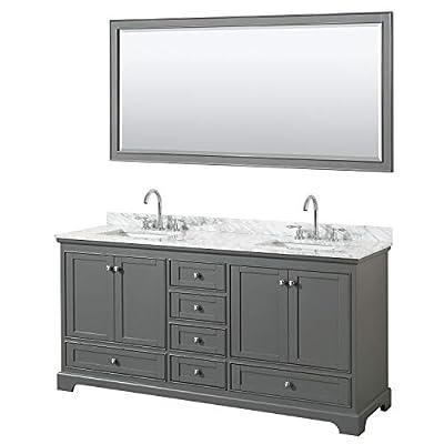Wyndham Collection Deborah 72 Inch Double Bathroom Vanity in Dark Gray, White Carrara Marble Countertop, Undermount Square Sinks, and 70 Inch Mirror