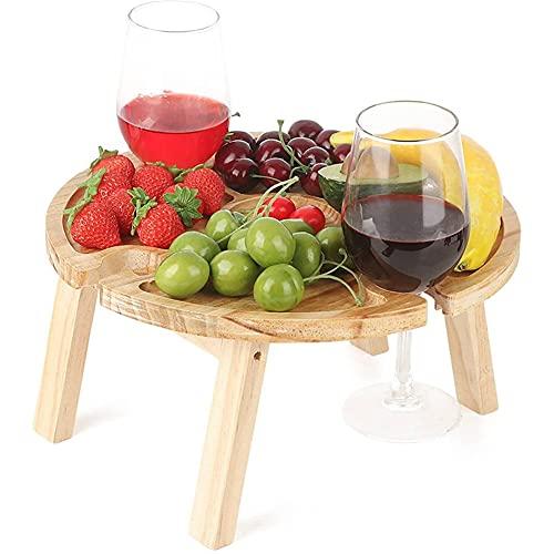 AOTEMAN Bandeja de madera, mesa de desayuno, mesa de picnic plegable al aire libre, portátil, con mesa de aperitivos, estante de vino para el hogar, dormitorio, bandeja de cama (30 x 16 x 1,5 cm)
