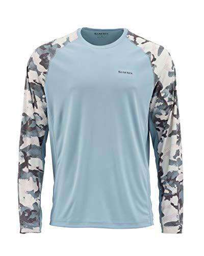 Simms Solarflex UPF 50+ Shirt, Long Sleeve Shirt, Hex Flo Camo Grey Blue L