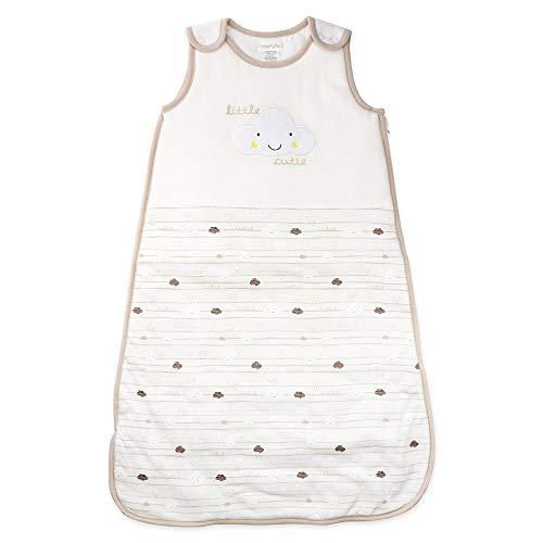 PitterPatter Baby Schlafsack Unisex weiß beige | Motiv: Wolken | Baby Schlafsack ohne Arme für Neugeborene & Kleinkinder | Größe: 6-12 Monate (74/80)