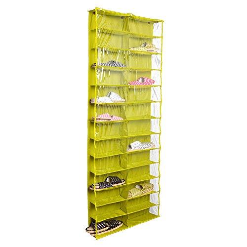milopon–Zapatero Plástico Pared colgantes Zapatos bolsillos Colgante Puerta escritorio Bolsa hängeorganizer con 3ganchos 24bolsillos, verde, 56*15*160CM