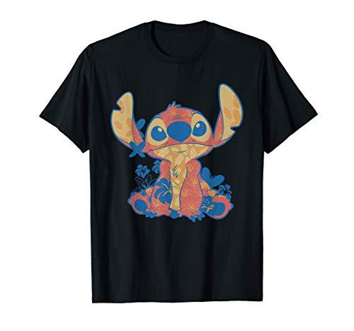 Disney Lilo & Stitch in Hawaiian Floral Print T-Shirt