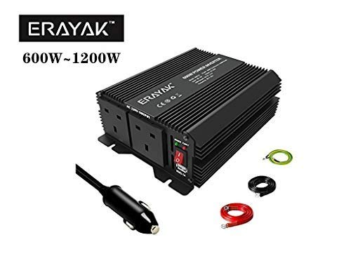 ERAYAK Power Inverter 1200W, converter, 12V to 240V, with 2 UK Plug and...
