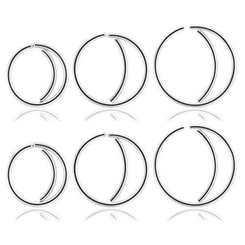 PiercingJ 6pcs 20G Stainless Steel Crescent Moon Indian Nose Hoop Ring Eyebrow Ring Bar Length Curved Barbell Eyebrow Tragus Lip Belly Ring Body Piercing Jewelry 8-12mm