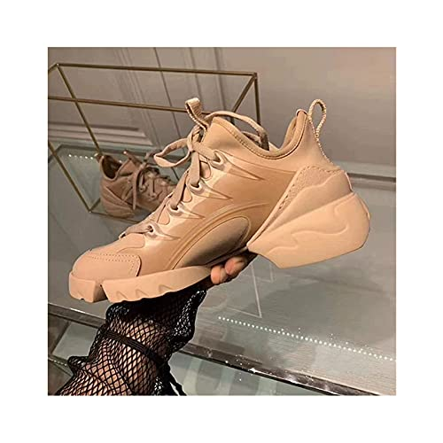 Zapatillas de Deporte para Hombre - Zapato de Mujer Zapatillas de Moda para Caminar Deporte Atlético Transpirable para Mujer,Beige-38 EU