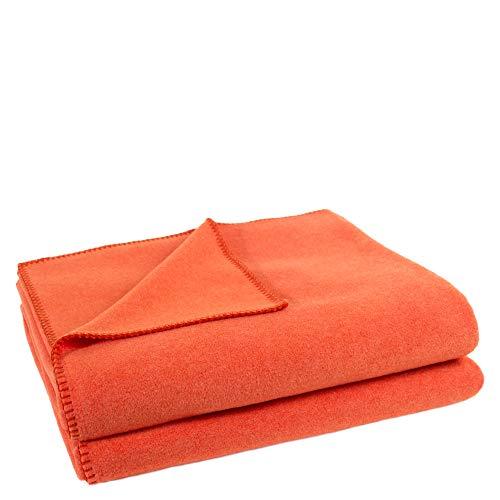 zoeppritz since 1828' Soft-Fleece-Decke – Polarfleece-Decke mit Häkelstich – flauschige Kuscheldecke – 160x200 cm – 265 papaya – von 'zoeppritz since 1828', 103291-265-160x200