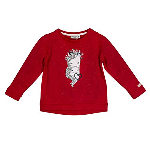 Salt & Pepper Mädchen Cool & Crazy Melange Pferdekopf mit Pailletten Sweatshirt, Rot (Cherry Red 337), 128 (Herstellergröße: 128/134)