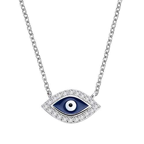 Lucky Meet Collar de plata de ley 925 con colgante de ojo de diablo de Horus turco egipcio con colgante de personalidad de moda retro con diamante de ojo de diablo de regalo
