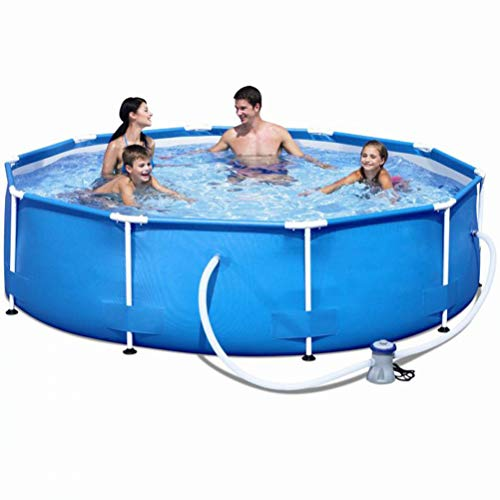 XLBHSH 305 x 76 cm Metal Frame Pool Round Frame Above Ground Pool Pond Family Swimming Pool with Filter Frame Structure Pool Easy Set Up