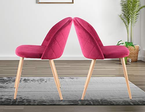 Sillas de comedor N/A, juego de 2, con asiento acolchado suave, tela de franela tapizada, patas de metal duradero para salón, dormitorio, oficina, cocina, etc. (Color: rojo rosa).