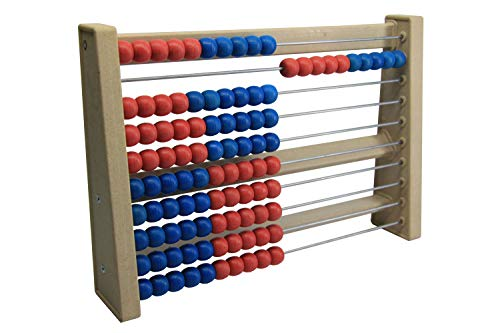 Wissner 33322446 aktiv lernen 080203.IMP - RE Wood Rechenrahmen, Zählrahmen mit 100 Kugeln in blau und rot, nachhaltiges Lernspielzeug für die Grundschule, schadstofffrei