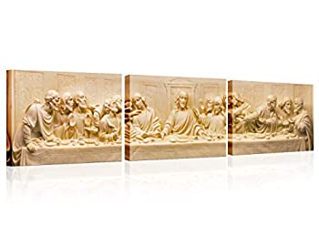 TUMOVO The Last Supper Home Decor Jesus Wall Decorations for Living Room 3 Panel La Ultima Cena Artwork Home Decor Framed Stretched Ready to Hang Posters and Prints  16x24 inch x3