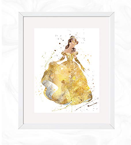 Belle Prints, Beauty and the Beast Disney Watercolor, Nursery Wall Poster, Holiday Gift, Kids and Children Artworks, Digital Illustration Art