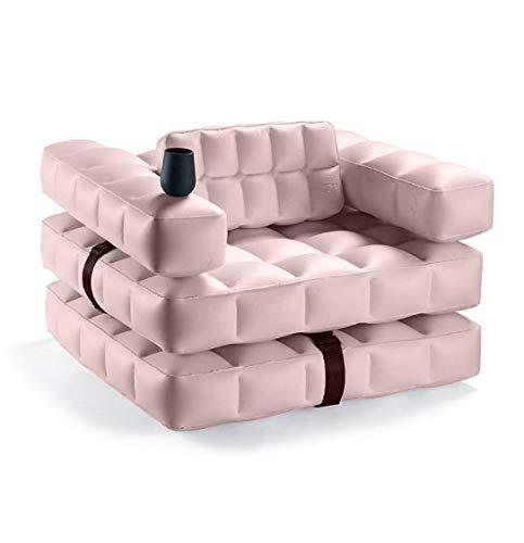Pigro Felice Modul'Air Sillón de Lujo Inflable, PVC, Rosa, 117X117X72 Cm, 4 Unidades