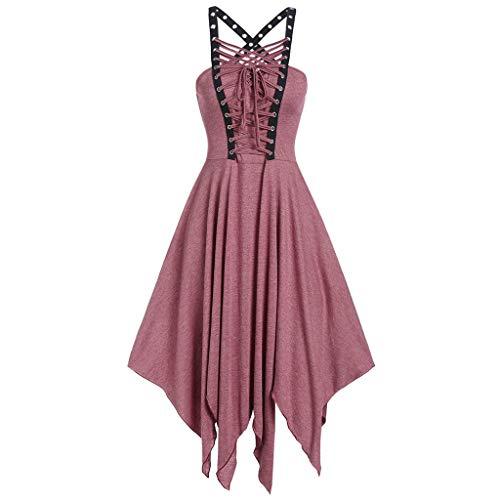 Damen Kleid Gothic Vintage Casual Kleid Piebo Frauen Ärmelloses Schnürung Rückenfrei Swing Kleid Cocktailkleid Karneval Kostüm Cosplay Party Minikleid mit Ledergürtel Reißverschluss (M, A-Rosa)