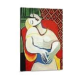 VBRT Póster de lienzo con diseño de abstracción, diseño de Pablo Picasso con una mujer dormida en una silla roja y fácil, impresión de cuadro moderno para dormitorio familiar, 40 x 60 cm