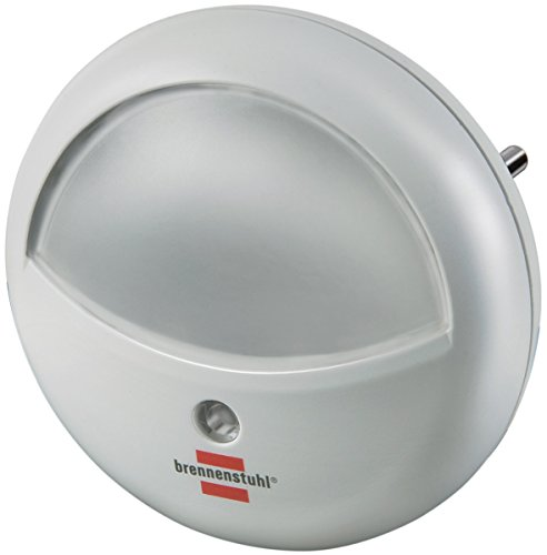 Brennenstuhl LED-Orientierungslicht rund / Nachtlicht mit Dämmungssensor für die Steckdose (sanftes und unaufdringliches Licht, mit 2 LEDs) weiß