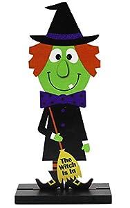 CMTOP Adornos de Halloween de Madera Adorno de Monstruo de Bruja de Calabaza Hecho a Mano decoración de Escritorio de Halloween para Fiestas