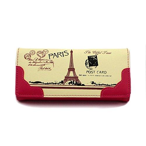 HuntGold 1 X femmes carte imprimé Tour Eiffel longue Porte-monnaie sac pochette portefeuille en imitation cuir (Rose vif)