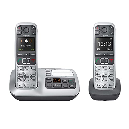 Gigaset E560A Duo – Two Cordless Phones for Seniors, Practical SOS-Function, Answering Machine, 2 Handsets, Extra Large Keys and Loud Volume (Platinum, Pack of 2)