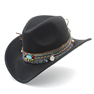 Womens Fashion Western Cowboy Hat For Lady Tassel Felt Cowgirl Sombrero Caps Hats, by jdon-hats, (Color : Black, Size : 56-58cm)