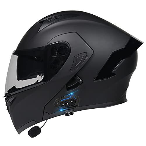 Klapphelm mit Bluetooth, Motorradhelm Integrierter Bluetooth-Helm ECE Genehmigt Motorrad Full Face Helm Rollerhelm Anti-Fog-Doppelspiegel Sturzhelm für Damen Herren 55~60cm