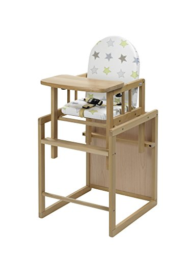Geuther - Kombi-Hochstuhl Nico, 2in1, Stuhl-/Tisch-Kombination oder Hochstuhl, TÜV geprüft, hoher Rücken, mit Sicherheitsgurt, natur, Sterne