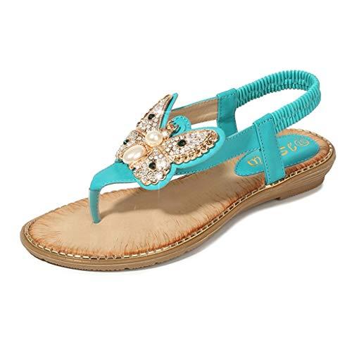 YWLINK Bohemia Mujer Bowknot Cristal Perla Sandalias Planas Chanclas De Playa Zapatos Flip Zapatos Romanos Moda Viajes Al Aire Libre Fiesta Zapatillas Antideslizante CóModo(Verde,39EU)