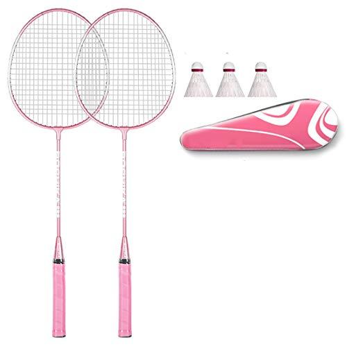 CMLLING Raqueta de bádminton profesional, 1 bolsa de bádminton, 3 bádminton de nailon, 2 raquetas (azul/rosa)