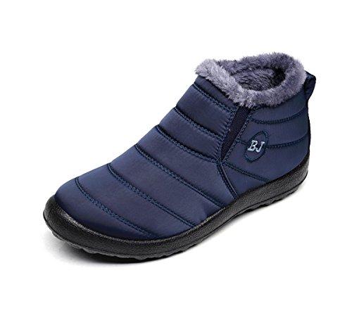 Unisex Schneestiefel,Popoti Winterschuhe Warm Erwachsene Herren Damen Winterstiefel Kurzschaft Boots Stiefel Outdoor Winter Stiefeletten (Blau, 38)