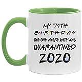Lawenp Taza decorativa blanca / verde claro para 71 cumpleaños personalizada, mi 71 cumpleaños, en...