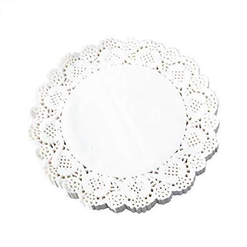 FLZONE Blondas de papel blanco redondas, 200 piezas de encaje blanco redondas de...