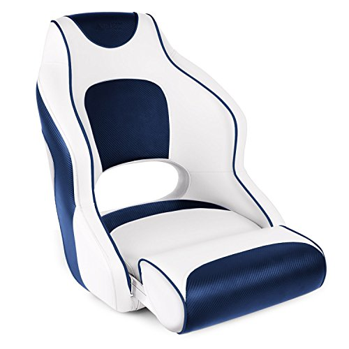 Leader Accessories Two Tone Captains Bucket Seat Boat Seat Premium Sports Flip Up Boat Seat(White/Blue,Blue Piping)