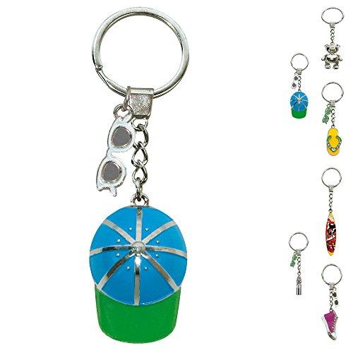 ebos Schlüsselanhänger ✓ aus Metall ✓ Accessoire |fob Key | Sommer | Wasser (Cap/blau, grün)
