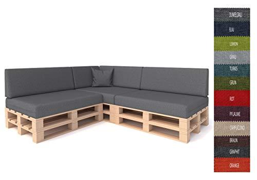Pillows24 Palettenkissen 8 teiliges Set | Palettenauflage Polster für Europaletten | Hochwertige Palettenpolster | Palettensofa Indoor & Outdoor | Erhältlich Made in EU | Dunkelgrau