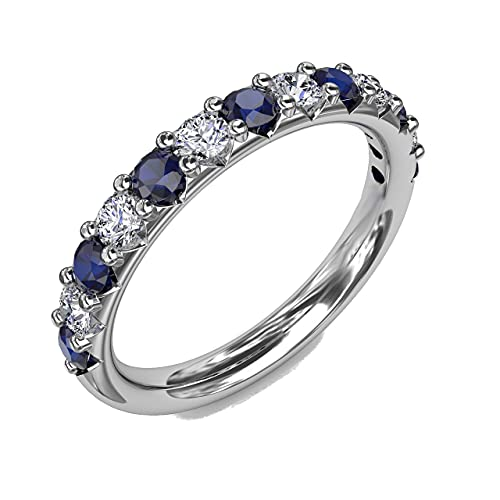 Anillo de plata de ley 925 con zafiro simulado y diamante de media eternidad para mujer con zafiro azul CZ de corte redondo de 0,65 quilates de grado AAA y cristales blancos (tamaño del anillo 55)