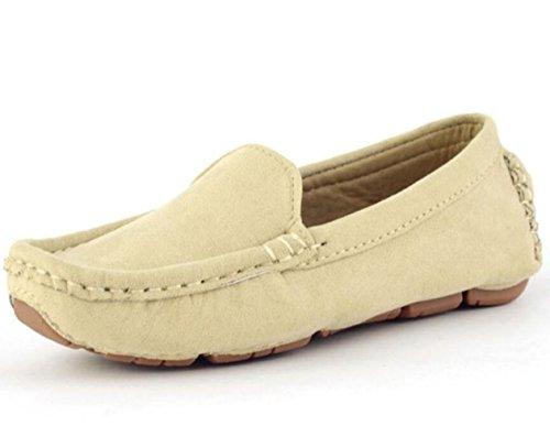 DADAWEN Girl's Boy's Soft Suede Leather Slip-on Oxford Flats Comfort Loafer Boat Dress Shoes Beige US Size 10 M Toddler