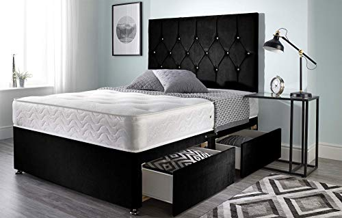 Bed Centre Ziggy Black Plush Sprung Memory Foam Divan Bed Set With Mattress, 2 Drawers (Same Side) and Headboard (Double (135cm X 190cm))