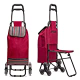 Image of Nicely Neat Stair Climbing Multipurpose Folding Utility Cart with Built-in Seat for Laundry, Grocery, Shopping and More…