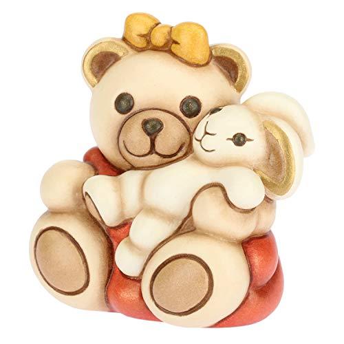 THUN ® - Teddy Bimba Piccolo con Coniglio - Ceramica - h 5,7 cm - Linea I Classici