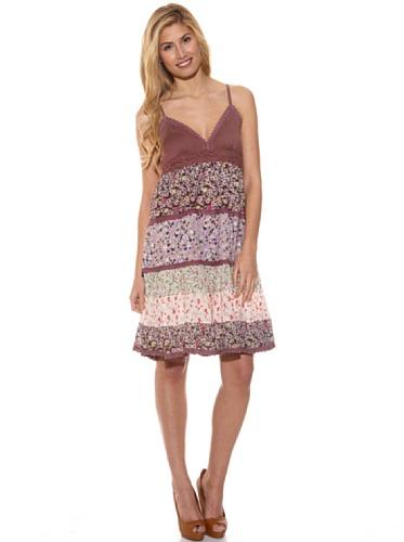 Peace & Love Vestido Estampado Patch Work Purpura S