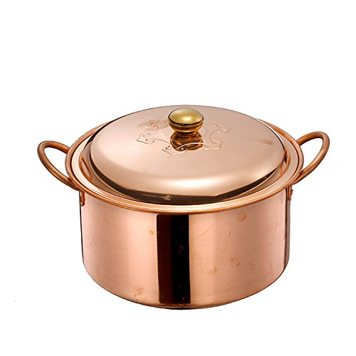 Cazuela de sopa olla hecha a mano sopa de cobre olla estofado estufa de gas profundizar olla de cobre grueso olla de cobre estofado olla de cobre día de la madre regalo del día del padre regalo Stockp