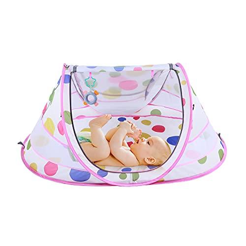 STLOVe Lettino da Campeggio Tenda da Sole Pop Up Tent Zanzariera per Culle Cappottina Regolabile Materasso(Anti-perdite) Facile da Montare Pieghevole Portatile da Interno e Esterno Giallo Rosa (Rose)