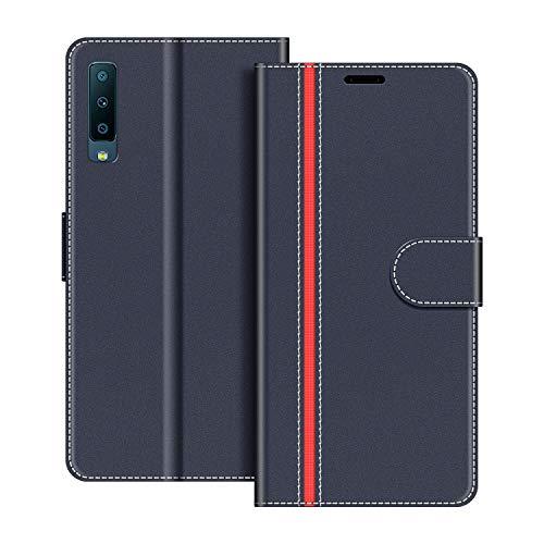 COODIO Handyhülle für Samsung Galaxy A7 2018 Handy Hülle, Samsung Galaxy A7 2018 Hülle Leder Handytasche für Samsung Galaxy A7 2018 Klapphülle Tasche, Dunkel Blau/Rot