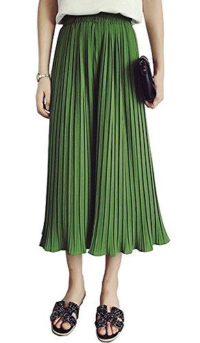 M-G-X Damen Hose High Waist Chiffon Plissiert Weitbeinhose Culottes, Grün S, Größe S