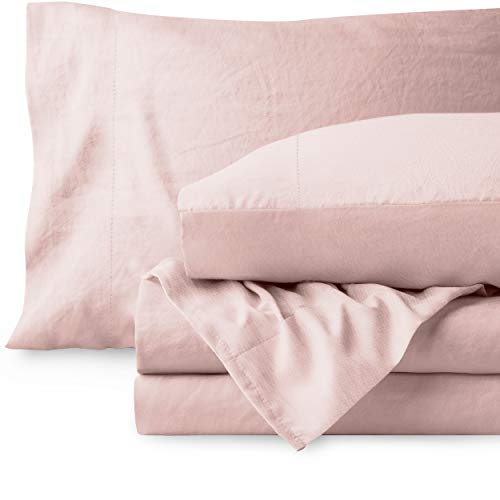 Bare Home Sandwashed Twin XL Sheet Set - College Dorm Size - Premium 1800 Ultra-Soft Microfiber Twin Extra Long Sheets - Incredible Softness - Deep Pocket - Bed Sheets (Twin XL, Sandwashed Dusty Pink)